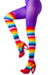 Woman legs in colourful stockings on white