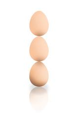 Drei Eier, gestapelt Drei Eier, gestapelt