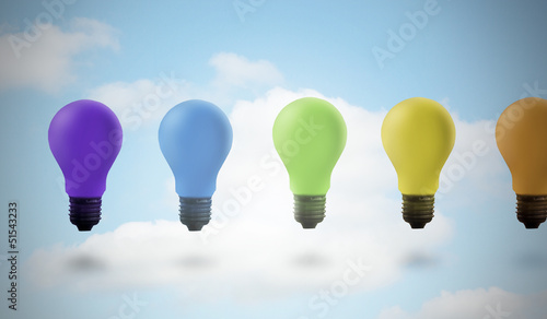 Five colored light bulbs