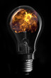 Flame inside light bulb
