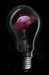 Pink brain inside light bulb