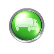 Truck icon on glossy green button with chrome bezel
