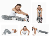Collage of woman stretching