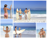 Collage of couple on the beach