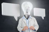 Man with light bulb for a head and two speech bubbles
