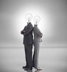 Business people with light bulbs instead of heads