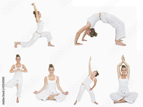 Collage of woman doing yoga