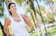 Woman running park