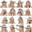 Collage of woman with straw hat