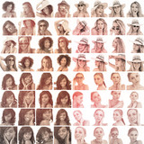 Collage of different pictures of women in sepia