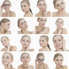 Collage of a beautiful blonde woman