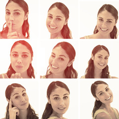 Collage of brunette woman in sepia