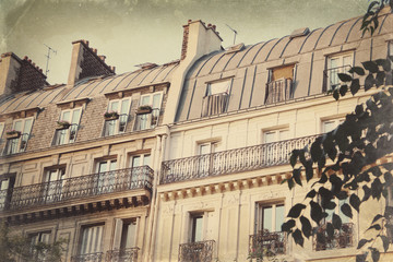 Vintage stylized postcard with Parisian houses