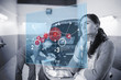 Doubtful customer with futuristic interface next to a mechanic
