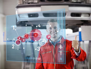 Mechanic showing thumbs up with futurist interface