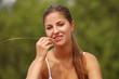 Beautiful caucasian woman enjoys summer