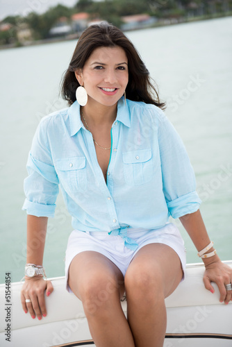 Beautiful woman in a yacht