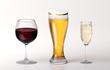 Rotwein Bier und Sekt Gläser