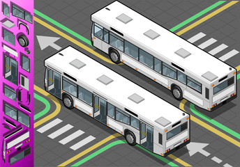 Isometric Bus with Opened Doors