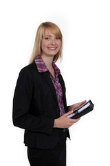 Woman holding a personal organizer