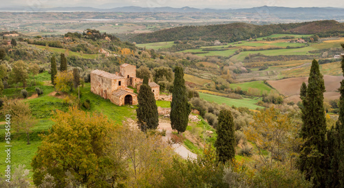 Tuscany, landscape with a farmstead and cypresses