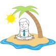 Geschäftsmann, Insel, Urlaub, Entspannung, Yoga