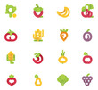 Vector fruits and vegetables set