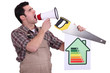 Handyman encouraging people to be energy efficient