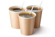 Three cardboard vending coffee cups