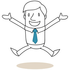 Geschäftsmann, Sprung, Freude, Jubel, Erfolg