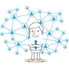 Geschäftsmann, soziales Netzwerk, Networking