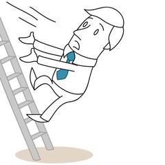 Geschäftsmann, Leiter, Sturz, Unfall, Fallen