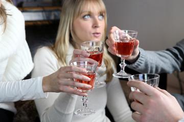 Friends enjoying a few drinks together