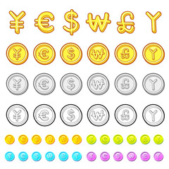 Various styles of Gold coin Sets. Economy and Finance Vector Ico