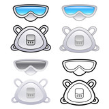 Various styles of Mask and Goggles Sets. Industrial market Items