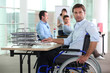 Working man in wheelchair