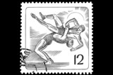 Greco-Roman wrestling on a postage stamp