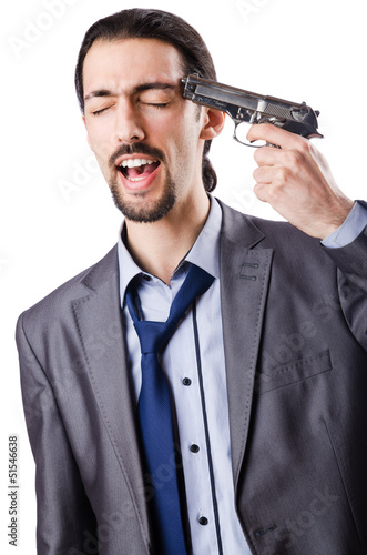 Businessman committing suicide isolated on white
