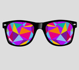 sunglasses with abstract geometric triangles. vector background