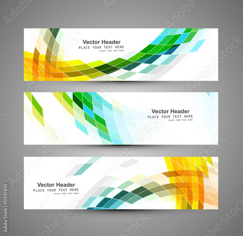 Abstract business three colorful mosaic header design vector