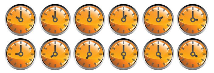 Orologi analogici pulsanti simboli icona 24 ore