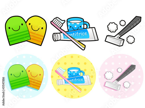 Different styles of Toiletries Sets. Household Items Vector Icon