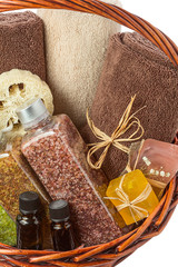 Spa treatment with salt, essencial oil, soap and towels