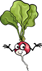 cute radish vegetable cartoon illustration