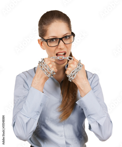 Woman tries to cut the steel chain