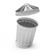 Steel waste bin with lid off