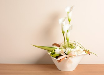 Decorative white calla in the white flowerpot.