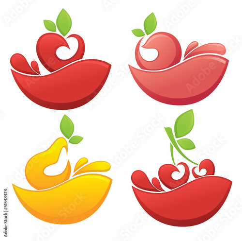 vector collection of bright fruit and juice stickers and symbols