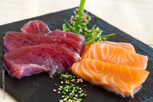 Salmon and tuna sashimi.