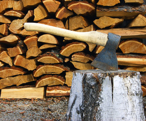 Tools axe and birch log